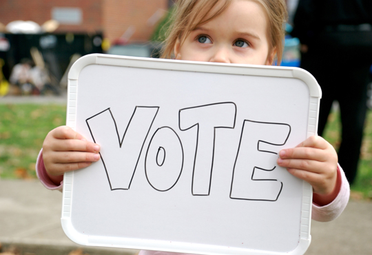 This 2 year old encourages us to vote!